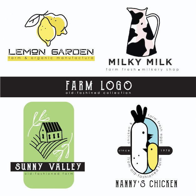 Farm logo template collection Premium Vector
