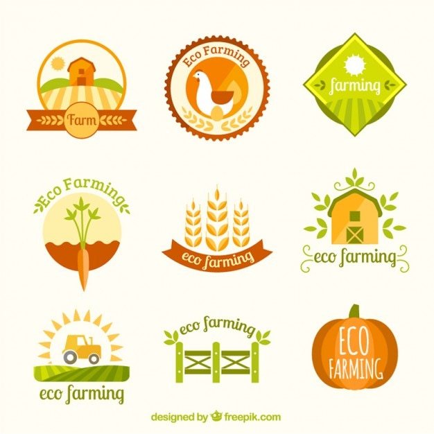 Farm logotype collection Free Vector