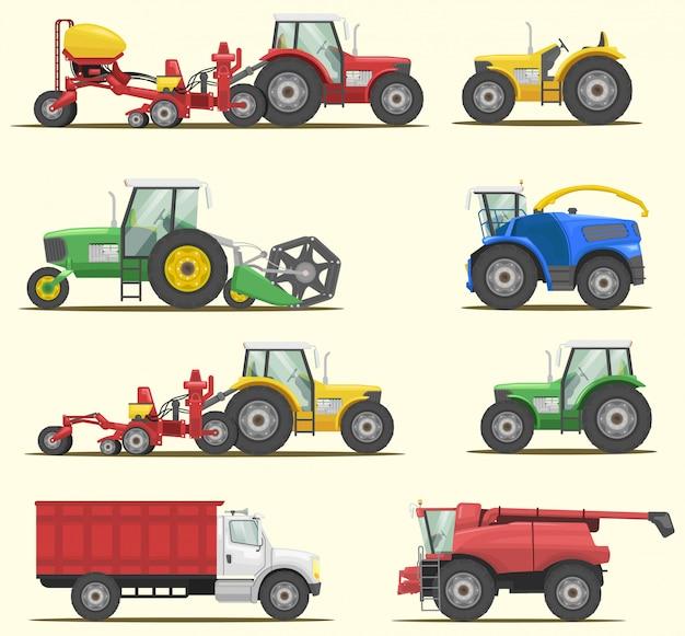 Farm machinery vector set Premium Vector