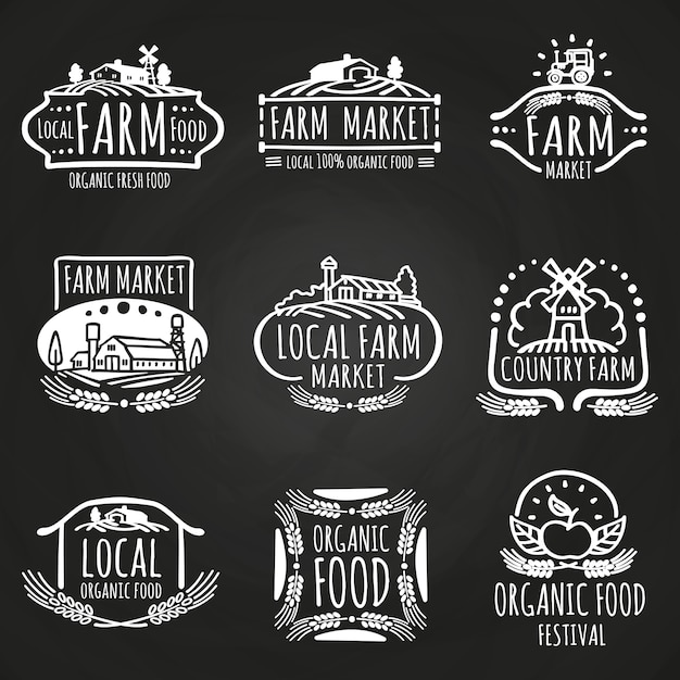 Farm market and food festival hand drawn Premium Vector