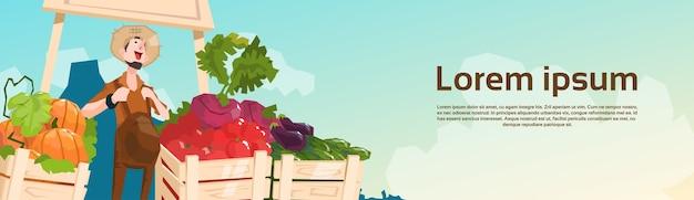 Farm market organic eco fruits vegetables grocery Premium Vector