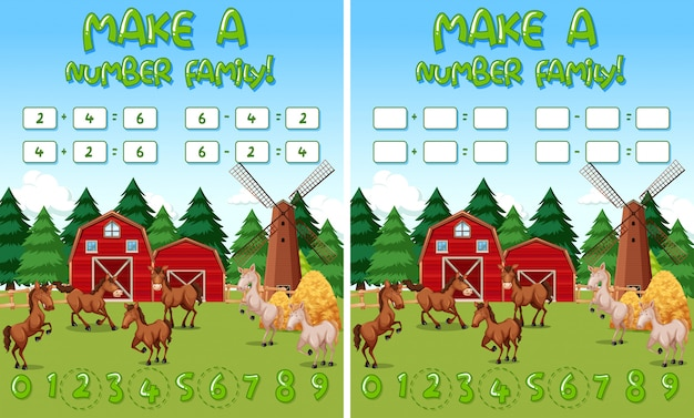 Farm math game template with horses and farm objects Vector