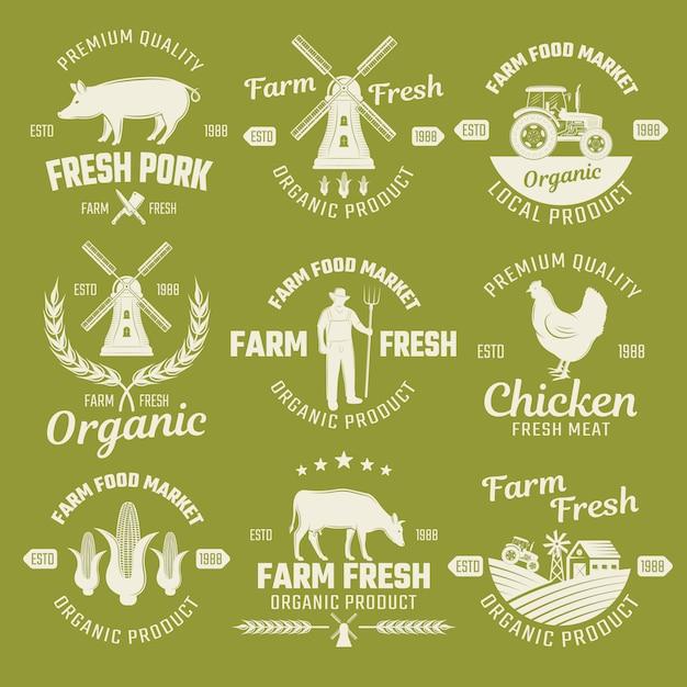 Farm monochrome emblems Free Vector