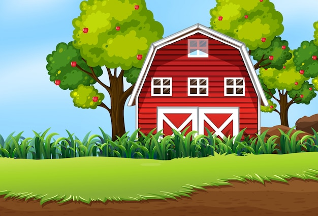 Farm in nature scene with barn and apple tree Free Vector