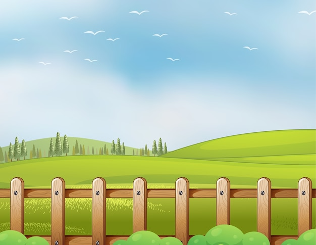 Farm in nature scene with blank bright blue sky Free Vector