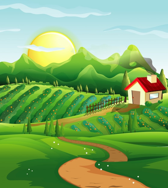 Farm in nature scene with little house and green farm Premium Vector