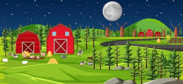 Natura di fattoria con fienili paesaggio di scena notturna Vettore gratuito