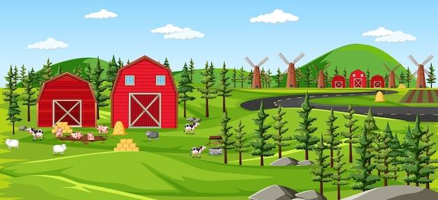 納屋の風景シーンと農場の自然 無料ベクター