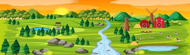 Natura dell'azienda agricola con paesaggio di fienili alla scena del tramonto Vettore gratuito
