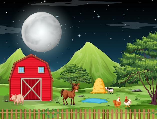 Farm at night scene Free Vector