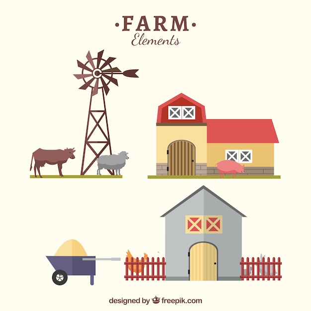 Farm objects in flat style Free Vector