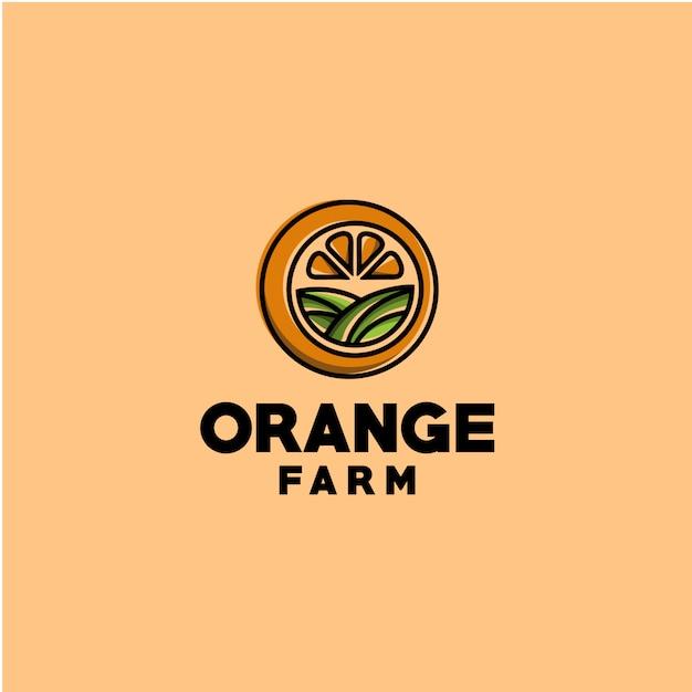 Farm orange logo template Premium Vector