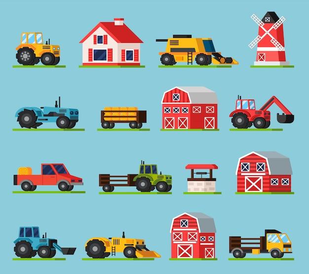 Farm orthogonal flat icons set Free Vector