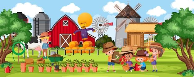 Ферма на открытом воздухе с большим количеством детей Premium векторы