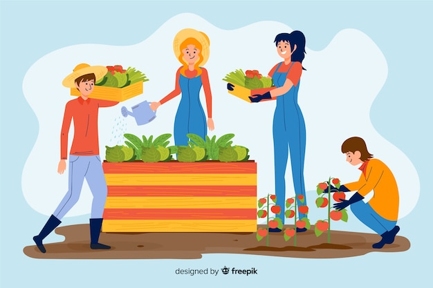 Farm people working together Free Vector