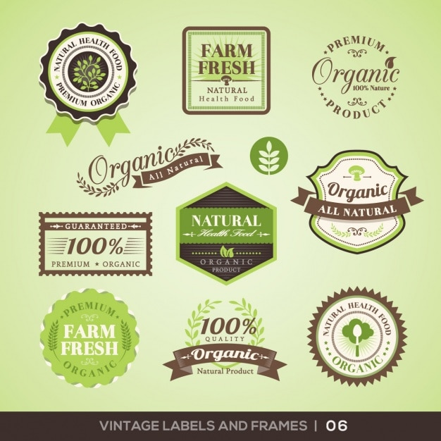 Farm product logos collection Free Vector