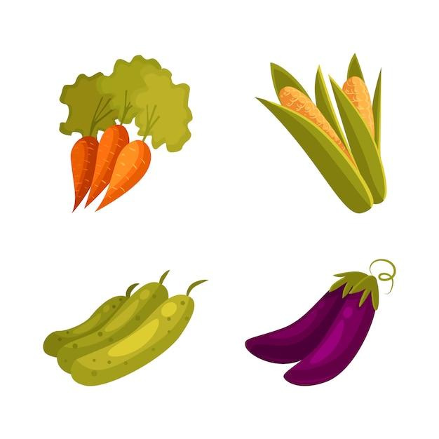 Farm products - corn, carrot, zucchini, eggplant Premium Vector