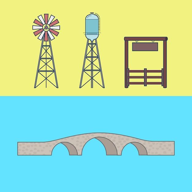 농장 목장 입구 시골 워터 타워 브리지 요소 아키텍처 건물 세트. 무료 벡터