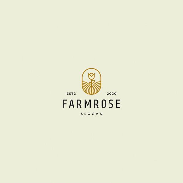 Фарм роуз логотип ретро винтаж Premium векторы