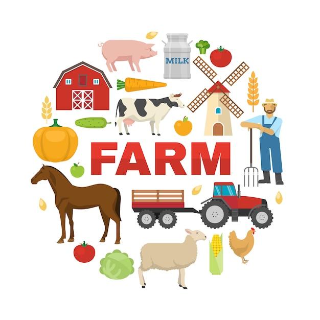 Farm round design Free Vector