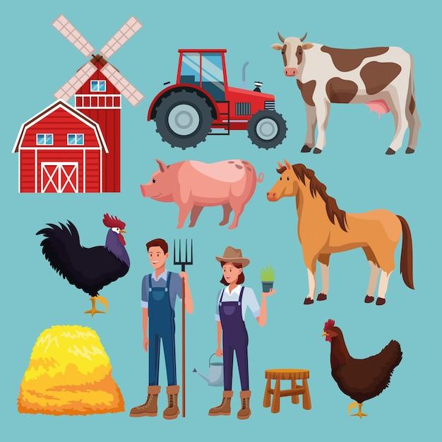 Farm rural cartoons Premium Vector