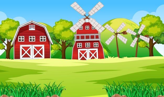 納屋と風車のある自然の農場のシーン Premiumベクター