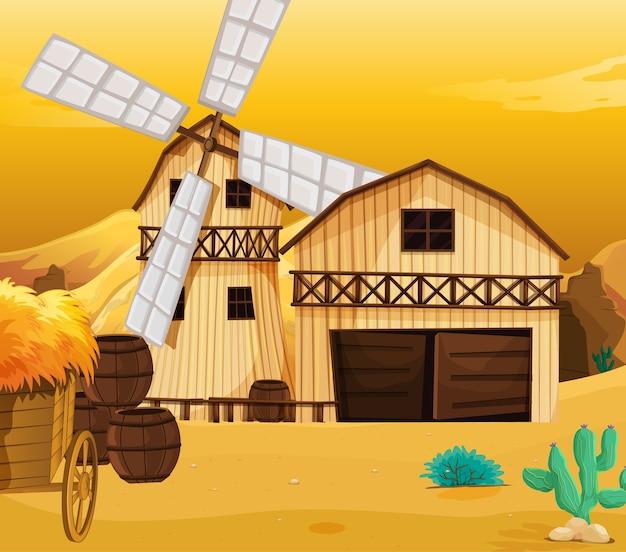 納屋と風車のある自然の農場シーン 無料ベクター