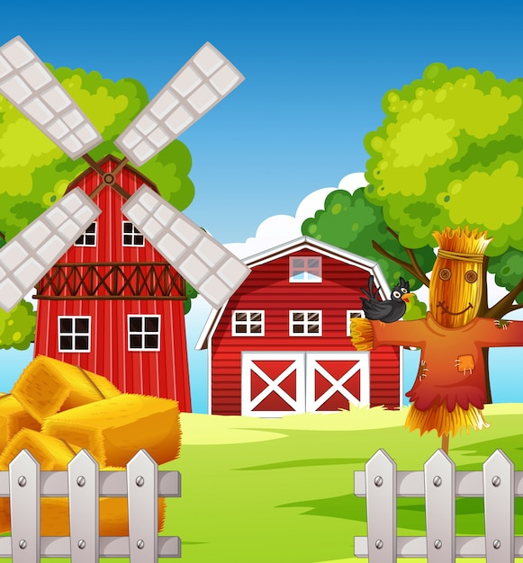 Farm scene in nature with barn and scarecrow and windmill Premium Vector