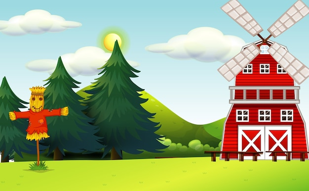 Farm scene in nature with barn and scarecrow Free Vector