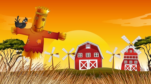 Farm scene in nature with barn and windmill and scarecrow Free Vector