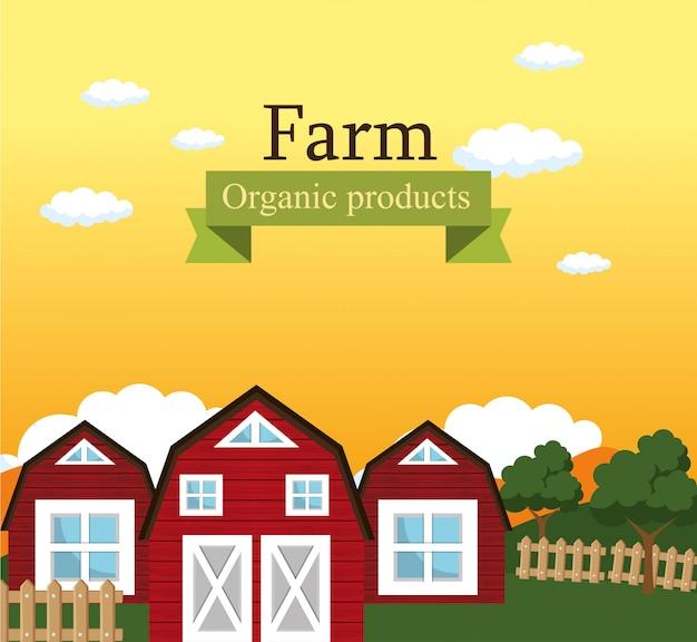 Farm scene organic products label Free Vector