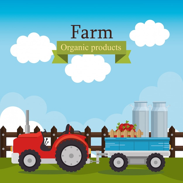 Farm scene organic products label Free Vector