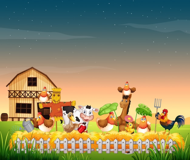 Farm scene with animal farm and blank sky Free Vector