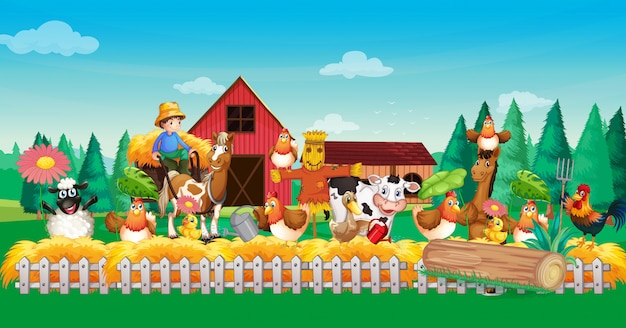Farm scene with animal farm cartoon style Free Vector