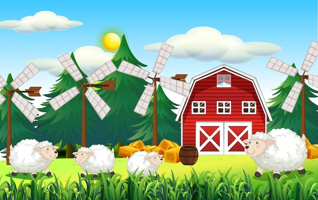 Farm scene with barn and cute sheep Free Vector
