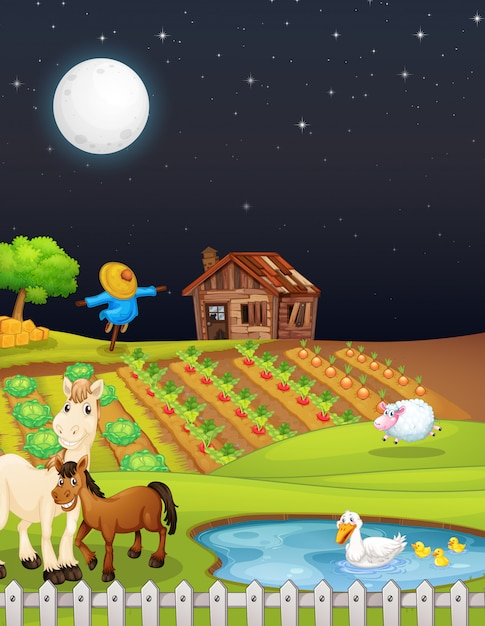 Farm scene with barn and horse at night Free Vector