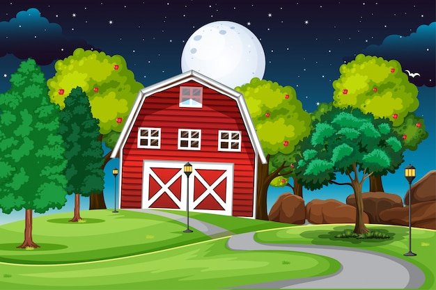 Farm scene with barn and long road at night Free Vector