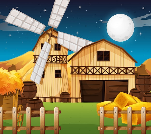 Farm scene with barn and mill at night Premium Vector