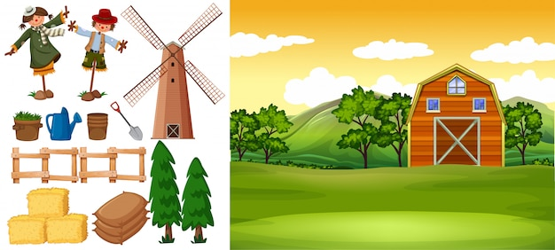 Farm scene with barn and other farm items Free Vector