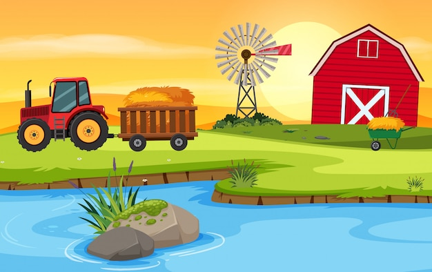 Farm scene with barn and tractor Premium Vector