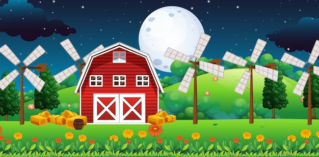 Farm scene with barn and windmill at night Premium Vector