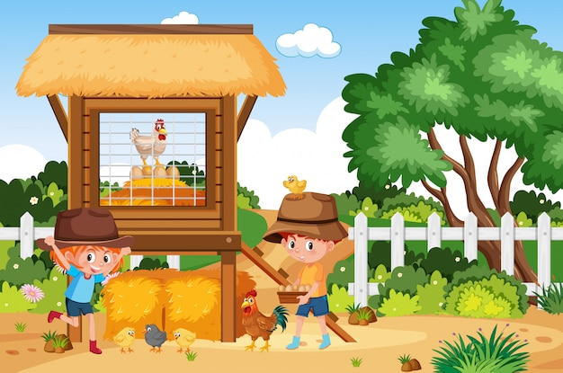 Farm scene with boy and girl working on the farm Premium Vector