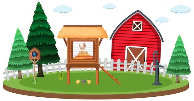 Farm scene with chicken coop and barn Premium Vector