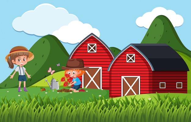 農場で花を植える子供たちと農場のシーン Premiumベクター