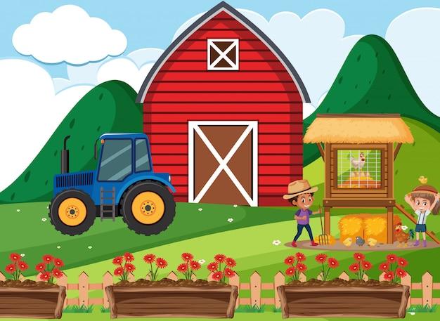 農場で働いている子供たちと農場のシーン Premiumベクター