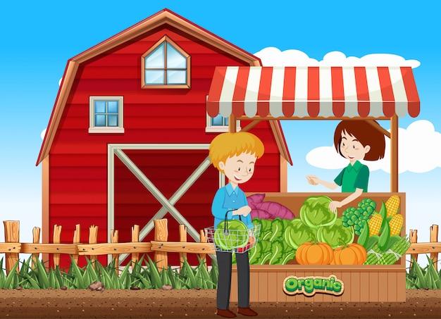 Farm scene with customer and fruitseller on the farm Free Vector
