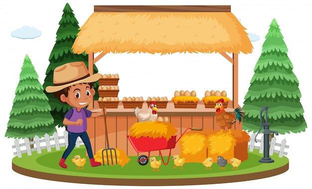 農家と白い背景の上の鶏と農場のシーン Premiumベクター