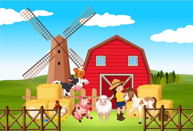Ферма сцена с фермером и многими животными на ферме Premium векторы