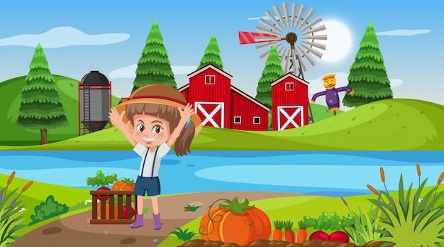 女の子と菜園の農場のシーン Premiumベクター