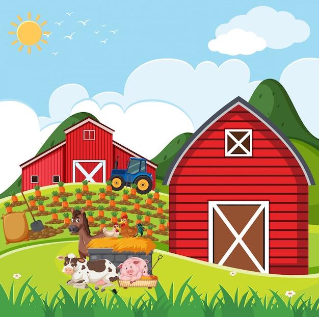 農場に多くの動物がいる農場のシーン Premiumベクター